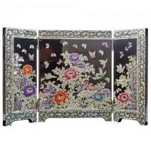 Miniature Folding screen inlaid with Peony (S)