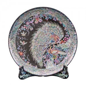 Circular Tray inlaid with Peacock (L)