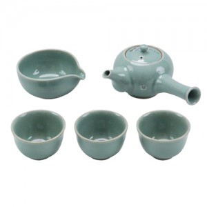 Celadon Tea set for 3 people(Design: Apricot Flowers)