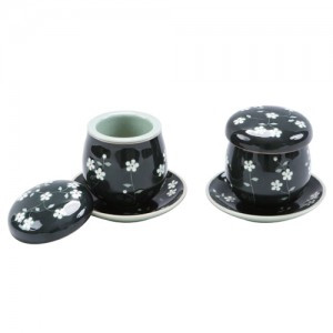 Teacup Set with Apricot flowers (Black)