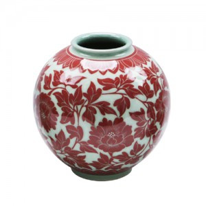 Red Celadon with Peony Design