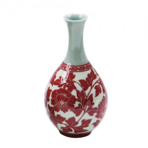 Liquor Bottle with Red Peony Design