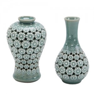 Celadon with Chrysanthemum pattern Liquor bottle set (S)