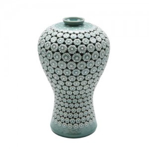 Celadon Vase inlaid with Chrysanthemum (L)