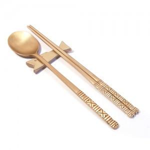 Brass spoon, chopstick (Korean Traditional Pattern, DDeolzam)