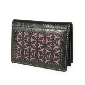 Business Card Case with  Flower Pattern (Black)