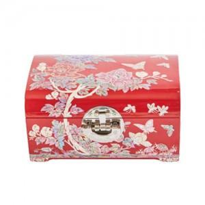 Round Corner Peony Jewelry Box (Red,Black)