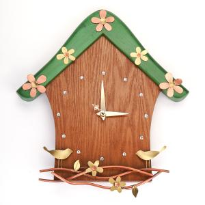 Wall clock (Material: wood, copper)