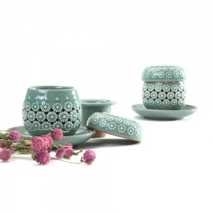 Teacup Set inlaid with Chrysanthemum Pattern