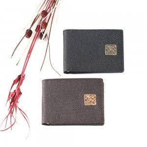 Cowhide Short Wallet with Hangeul