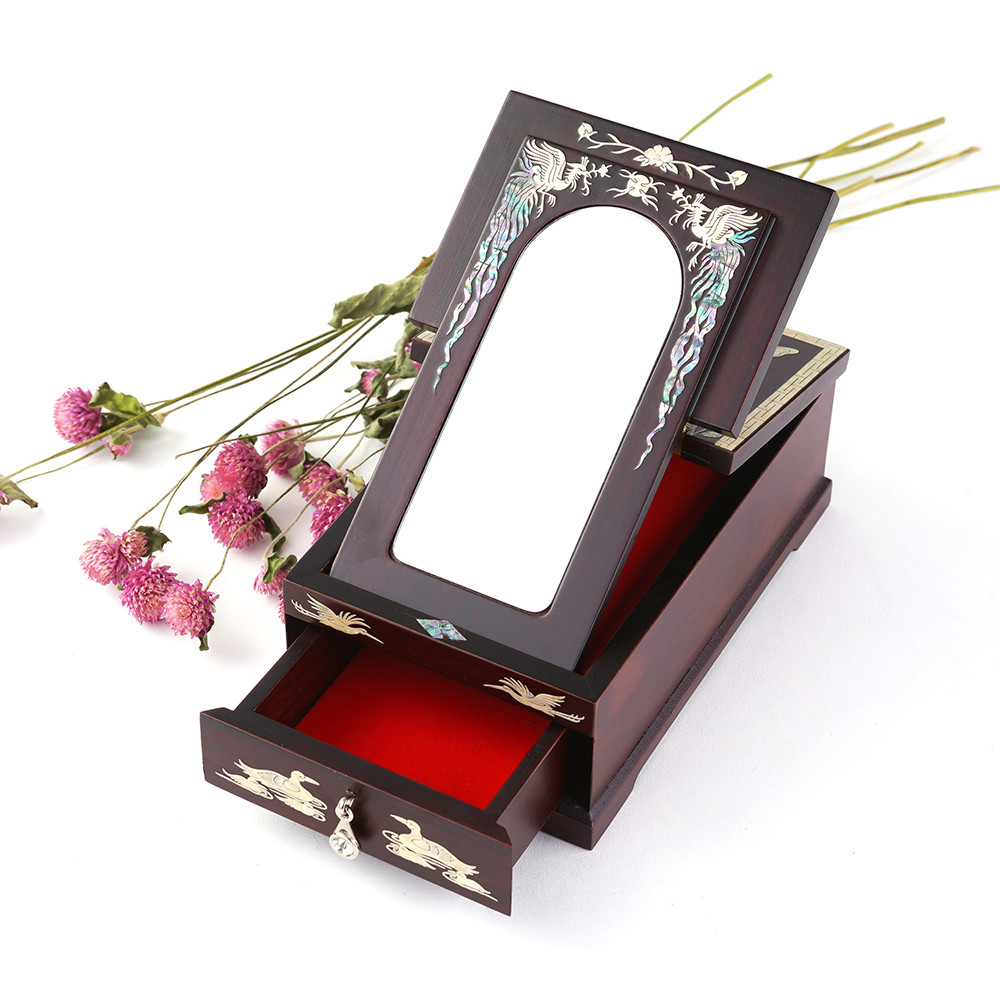 Mini Mirror Stand with Painting of Flower and Butterfly