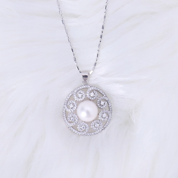 Silver Pearl Necklace (20mm)